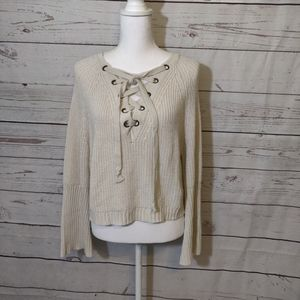 Fashion Nova Cream Long Sleeve Sweater